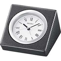 Seiko Desk and Table Alarm Clock Carbon Fiber Pattern and Metal Case