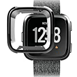 Sinwo Cover Case For Fitbit Versa Smart Band, Ultra-thin Soft Plating TPU Silicone Cover Case Watch Casing Guard Protector (Black)