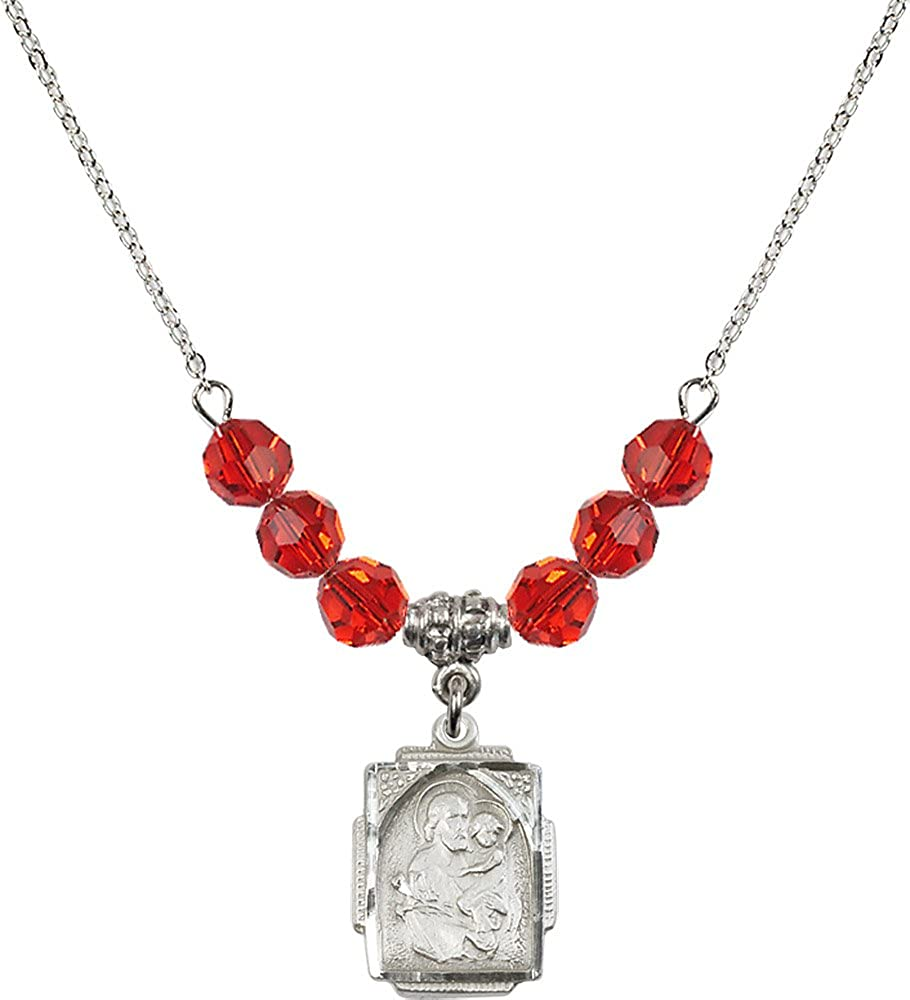 18-Inch Rhodium Plated Necklace with 6mm Ruby Birthstone Beads and Sterling Silver Saint Joseph Charm.