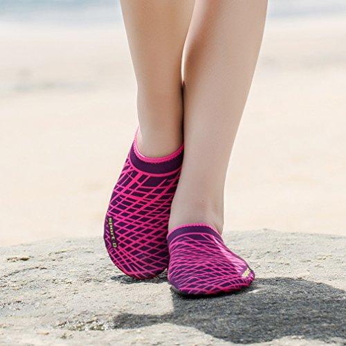 KEESKY Männer Frauen Barfuß Wasser Schuhe Quick Dry Slip Auf Aqua Socken Für Beach Pool Aerobic Rosenrot 2