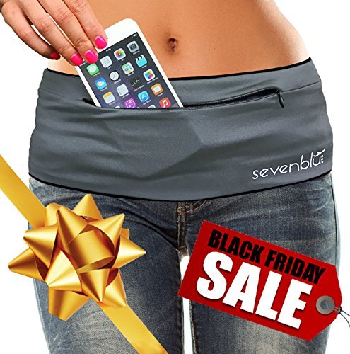 Hip Belt (SevenBlu HIP - Fashion Money Belt / Extra Pocket / Running Belt - World's Best Stylish Travel Wallet or Mini Purse - with ZIPper - Fits iPhone 6 Plus -)