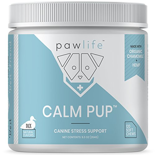 Calming Treats for Dogs – Hemp Oil Infused Soft Chews for Dog Anxiety Support – Formulated with Organic Chamomile, Passion Flower, Valerian Root, Tryptophan and Ginger Root – 120 Dog Calming Treats