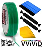 Knifeless Vinyl Wrap Cutting Tape Finishing Line 10M Plus 3M Toolkit (Blue Applicator Squeegee, Yellow Detailed Squeegee and Black Felt Edge Decals)