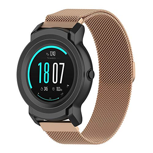 QUICATCH Compatible for Ticwatch S2 GPS Fitness Smartwatch 22mm Watch Band Elegant Milanese Metal Stainless Steel Mesh Replacement Strap 1PC (Rose Gold)