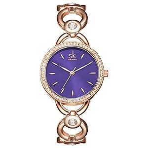 SK Women's Watches Rhinestone Bracelet Jewelry Watches Analog Display Female Wristwatches