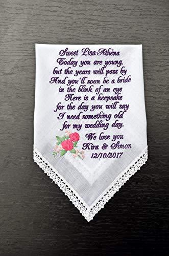 Flower girl gift something old for your wedding day Bride gift to Flower girl wedding gift wedding handkerchief Groom gift wedding hankie flower girl -