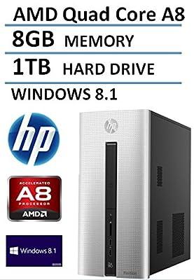 2016 HP Pavilion 550 Desktop Computer (AMD Quad Core A8 up to 2.4GHz Processor, 2MB Cache), 8GB Memory, 1TB Hard Drive, DVDRW, WiFi, Bluetooth, Windows 8.1 (Certified Refurbished)