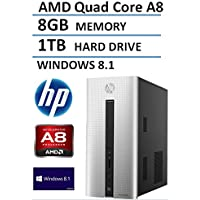 2016 HP Pavilion 550 Desktop Computer (AMD Quad Core A8 up to 2.4GHz Processor, 2MB Cache), 8GB Memory, 1TB Hard Drive, DVDRW, WiFi, Bluetooth, Windows 8.1 (Certified Refurbished)