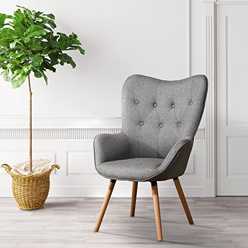 LSSBOUGHT Stylish Fabric Accent Chair Modern Muted Fabric Arm Chair,Gray (Accent Fabric Chairs)