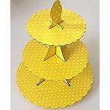 3 Tier Yellow Polka Dot Cupcake Stand Cardboard Wedding Party
