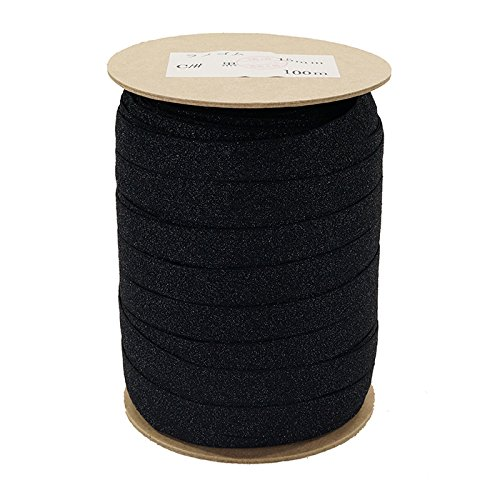 金天馬 ラメリボンゴム15mm巾 kw93193 100m ブラック 100m ブラック B00OR1B3CW