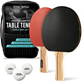 PRO SPIN Ping Pong Paddle Set – Includes 2 Premium Paddles/Rackets, 3 White Table Tennis Balls (3-Star), Convenient Storage Case