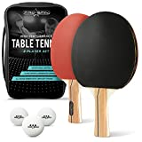 Ping Pong Paddle Set - Includes 2 High-Performance Paddles/Rackets, 3 Professional 40mm Balls, Travel Case