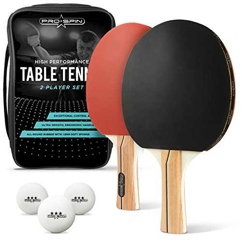 Ping Pong Paddle Set - Includes 2 High-Performance Paddles/Rackets, 3 Professional 40mm Balls, Travel Case by ProSpin