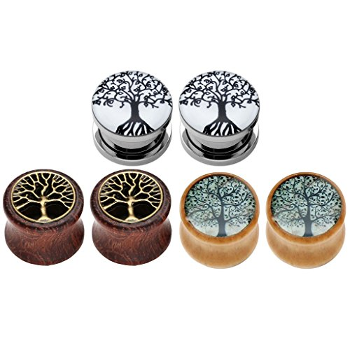 JOVIVI 6pcs Tree of Life Stainless Steel Organic Wood Ear Tunnels Plugs Kit Expander Stretchers 0G-5/8