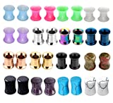 """BOPREINA 16 Pairs Stainless Steel & Silicone&Stone Double-flared Flexible Ear Tunnels Gauge 2g-1/2"""""""