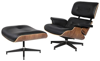 Modern Sources - Mid-Century Plywood Lounge Chair & Ottoman Eames Replica  Black Walnut Real Premium Leather