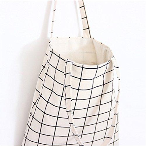 De Bolso Zipper Para Zipper Única Color Mujer White Talla Tela Sundatebe Plaid Tamaño Grey 5B1Aqw1d
