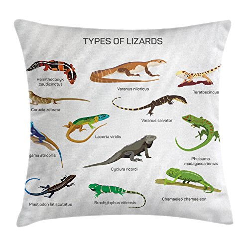 Ambesonne Animal Throw Pillow Cushion Cover, Lizard Family Design on Plain Background Primitive Reptiles Camouflage Exotic Creatures, Decorative Square Accent Pillow Case, 20 X 20 Inches, Multi by Ambesonne