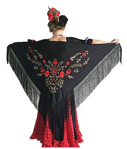 7318bedd3a82 La Senorita Foulard Ceinture Chale De Danse Flamenco Broderie Frange noir  rouge d  or  Amazon.fr  Vêtements et accessoires