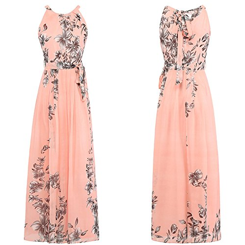 Halter Women Casual Dress Floral Pink Bohemia Afoxsos Dress Chiffon Print Maxi Neck 6RWqp