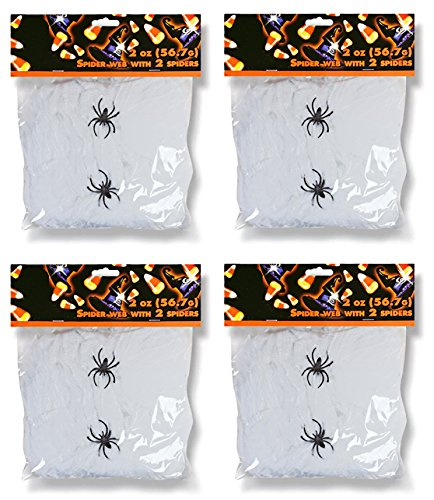 Family Holiday Halloween Webs, Webbing,Cobwebs & Spiderweb with Spiders Decorations (Pack of 4) (Halloween Decorations Spider Web)