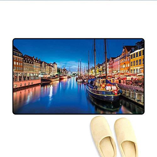 Bath Mat Entertainment District Denmark Nyhavn Canal Copenhagen River Boats Shops Attraction Doormats for Inside Non Slip Backing Multicolor 24