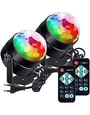 Lunsy Discobol, led-discolicht, voor kinderen, 6 kleuren, RGB, LED, muziekgestuurd, party, discolichteffecten, 360 graden draaibaar, feestlicht met afstandsbediening, voor Kerstmis, party, bruiloft en meer