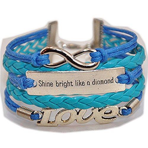- Ac Union Handmade Love Shine Bright Like a Diamond Charm for Friendship Gift - Fashion Personalized Leather Bracelet - Blue