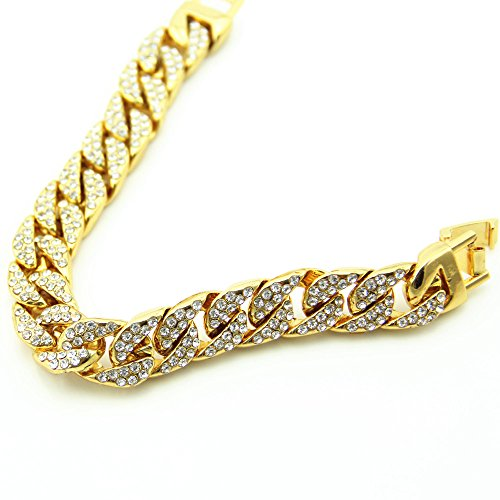 Fashionever Mens Womens Chain Hip hop Iced Out Curb Cuban Silver Gold Plated Bracelet with Clear Rhinestones 8.5 inch (Gold)