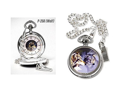 Infinity Pocket Watches 47 Wolf Pocket Watch with White Face & Black Hands & Image of Wolf with Silver Finish Sculpted Cast Metal Case