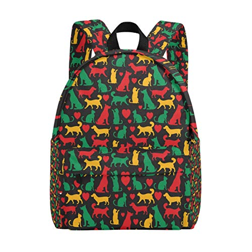 College Bookbag Cats and Dogs Colored Print Schoolbag