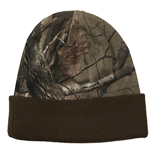 (Realtree Licensed Camo Knit Cuff Beanie Brown )