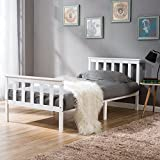 LIFE CARVER Single Bed Wooden Frame 3ft Single Wooden Bed in White (3FT)