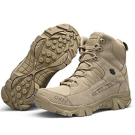Qiyun Uomo militare high top scarpe da escursionismo stivali con lacci lavoro,stivali impermeabili,Stivali militari uomo,Scarpe da lavoro uomo