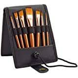Paint Brush Set - 7 Travel Brushes for Acrylic, Oil, Watercolour, Gouache and Plein Air Painting - Ultra Short Handle - Professional Artist Carry Case - 1 Year Warranty - Art Supplies by MyArtscape (Black)