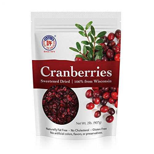 Wisconsin Cranberries by Hsu's Ginseng | Sweetened & Dried | 2lb Bag -