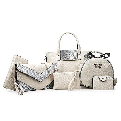 (G-AVERIL) pelle Donna Borsa Handbag borsa a Spalla Borse a mano Tote Bag Shoulder Bag con Mutil tasche bianco