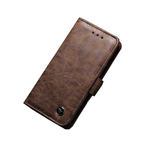 Ariyenai iPhone 7/8 ケース カバー 手帳型 財布型 おしゃれ 純色 牛革 カード入れ 財布カバー マグネット開閉式 スタンド機能 耐衝撃 防塵 耐久性 装着やすい 吸着の機能 ケース カバー (iPhone7/8, ブラウン)
