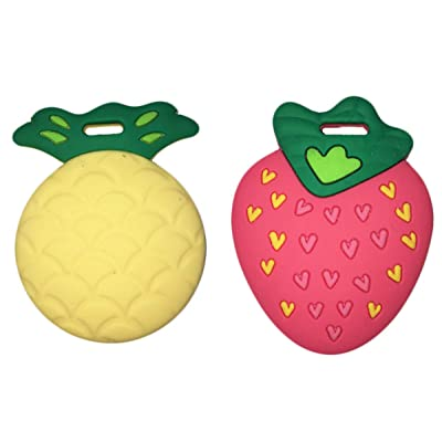 "Silli Chews Fruit Teethers for Babies BPA Free - Silicone Pineapple and Strawberry Baby Teether Toys 2"" Teething Gift Set : Baby"