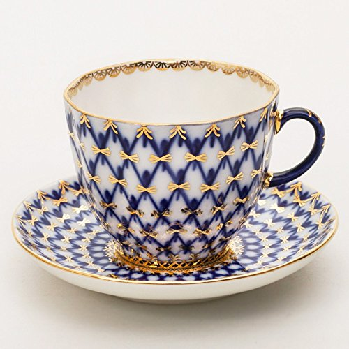 6' China Saucer - Imperial / Lomonosov Porcelain Coffee Cup w/ Saucer 'Cobalt Net'