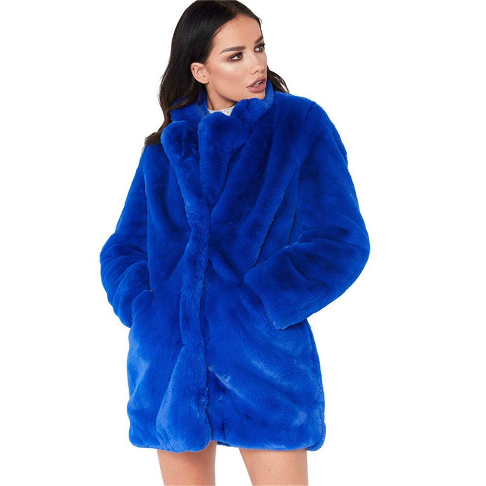 Women Lady Polo Collar Faux Fur Coat for Female MidLong Long Sleeve Casual Winter Dresses Style Outwear,bluee,XXL