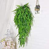 Lanldc 2pcs 33 inch Artificial Hanging Vines Plants Fake Persian Rattan Wall Hangs Plant Vines for Home Garden Hanging Basket Decor