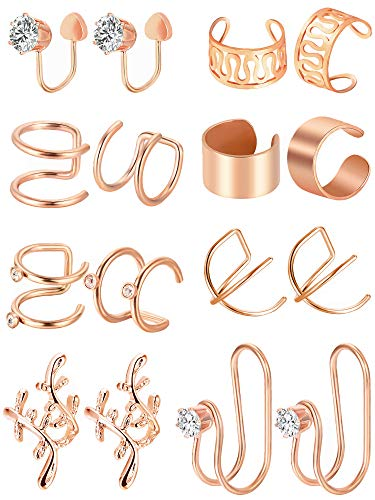 Tatuo 8 Pairs Stainless Steel Ear Cuff Cartilage Cuff Non-piercing Earrings for Women Girls Embellishment, 8 Styles (Rose Gold)
