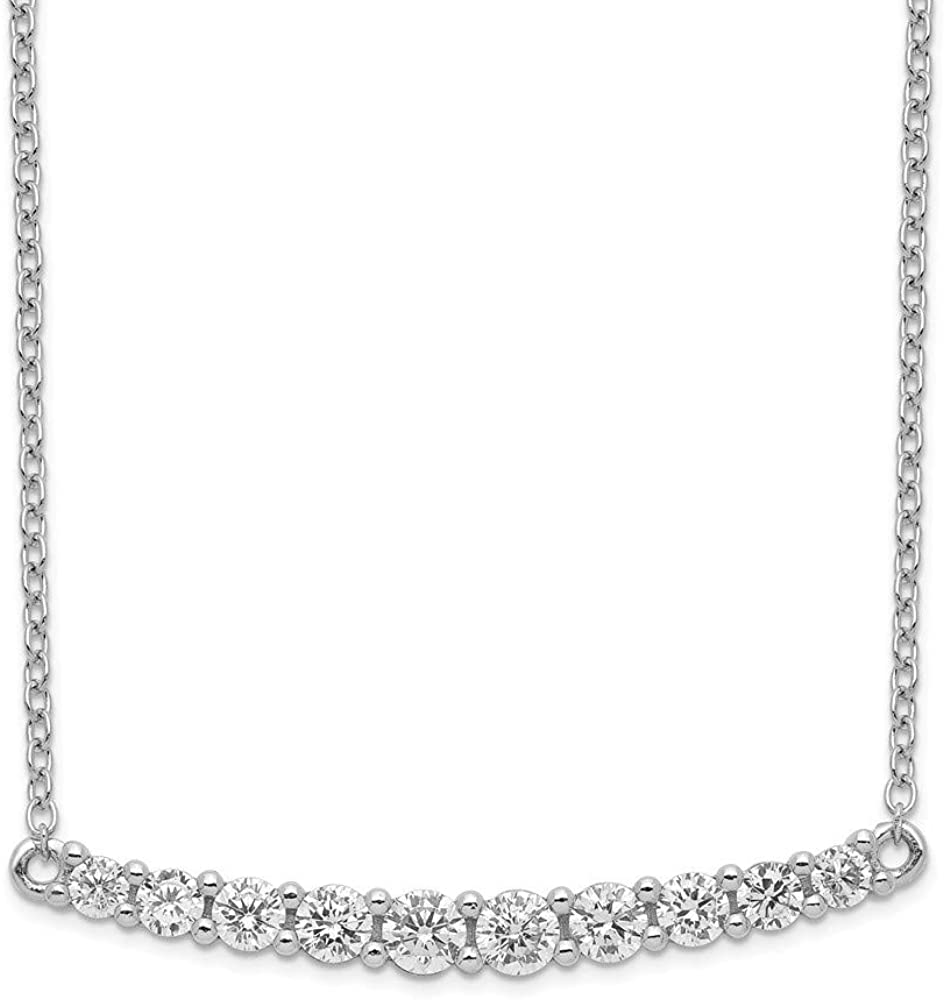 925 Sterling Silver Rhodium plated CZ Cubic Zirconia Simulated Diamond Bar With 2inch Ext Necklace 16 Inch Jewelry Gifts for Women