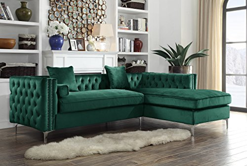 Iconic Home Da Vinci Right Hand Facing Sectional Sofa L Shape Chaise Velvet Button Tufted with Silver Nail Head Trim Silvertone Metal Y-Leg with 3 Accent Pillows, Modern Contemporary, Green
