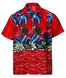 Funky Hawaiian Shirt Short Sleeves Shirt Red Parrot Big Print Aloha Shirts