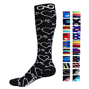 Compression Socks (1 pair) for Men & Women by INFINITY - BEST for Running, Nurses, Shin Splints, Flight Travel, & Maternity Pregnancy - Boost Athletic Stamina & Recovery (Cupid, L/XL)