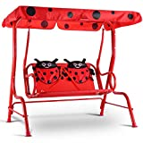 Casart Red Ladybug Furniture Table Chairs Set With Parasol & Swing Chair Children Kids Picnic Patio Yard Garden Outdoor (Kids Swing Chair)