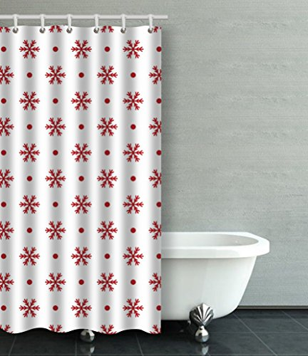 Emvency Shower Curtain Cute Snowflake Polka Dot Red